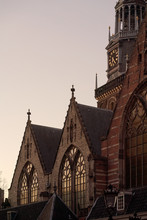 Detail Of The Oldest Church In Amsterdam, The Oude Kerk.