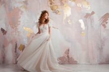 Elegant Red-haired Girl Bride. Young Beautiful Woman In Wedding Dress