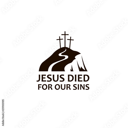 black icon of jesus golgotha hill with crosses isolated on white background Fototapet