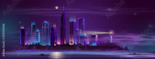 In de dag Violet Modern metropolis buildings on sea or ocean island steep shore with beach night landscape cartoon vector in neon colors. Modern city skyline with futuristic skyscrapers and lighthouse illustration