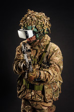 Soldier Use A VR Glasses For C...