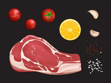 Raw Marbled Meat Fillet, Portion To Cook Steak Or Grill With Spices And Vegetables 3d Realistic Vector Isolated On Black Background. Beef Tenderloin For Barbeque With Tomatoes, Garlic And Lemon