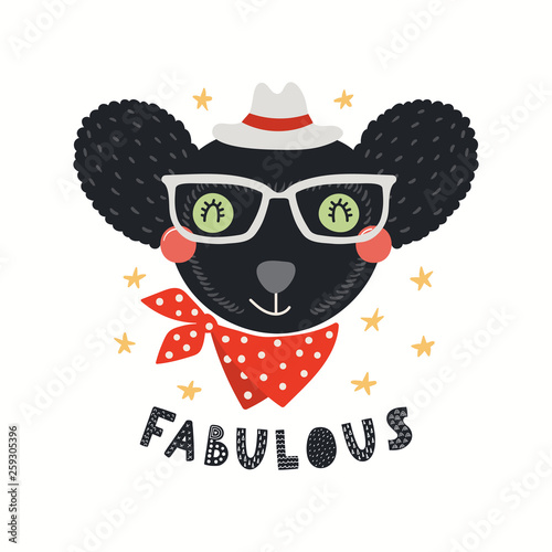 Hand drawn vector illustration of a cute hipster indri in glasses, with lettering quote Fabulous. Isolated objects on white background. Scandinavian style flat design. Concept for children print.