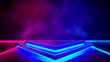 canvas print picture - Triangle stage with smoke and and purple neon  light ,abstract fustic background,ultraviolet  concept,3d render
