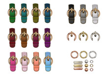 Haberdashery Accessories. Set Metal Round Buckles And Leather Straps With Stitches Of Different Colors.