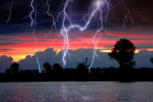 Thunderstorm Over The Lake