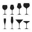 Alcohol wine, champagne, gin and martini drink glasses silhouettes. Bar cold cocktail booze. Vector illustration.