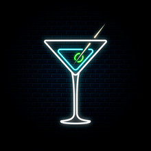 Neon Martini Glass With Olive....