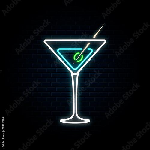 Pinturas sobre lienzo  Neon martini glass with olive