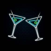 Glowing Neon Sign With Two Clinking Martini Glasses. Vector Isolated Illustration. Icon For Night Restaurant Background. Led Luminous Signboard For Cocktail Bar.