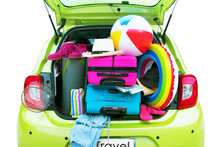 Overloaded Green Car Bright Suitcases Summer Accessories