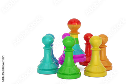 Fototapeta Rainbow pawn over white background 3D illustration.