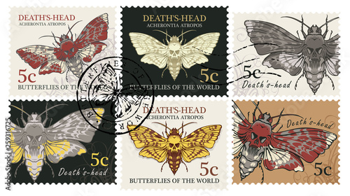 Photo Vector set of postage stamps with moth Acherontia atropos in retro style