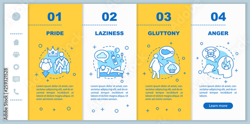Fotografia Seven deadly sins onboarding mobile app page screen vector templ