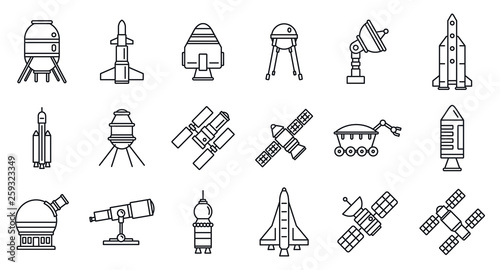 Planet space research technology icons set Canvas Print