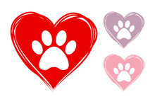 Set Of Three Hearts In Red, Violet And Pink Colors. Hand Drawn Hearts With Animal Paw Prints Inside. Vector Hearts Ready For Web And Print. Dog Footmark Logo.