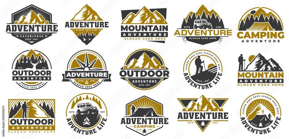 Fototapeta Set of Adventure and outdoor vintage logo template, badge or emblem style