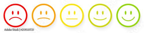 Fototapeta 5 Bunte Emojis Kontur Rot Zu Grün