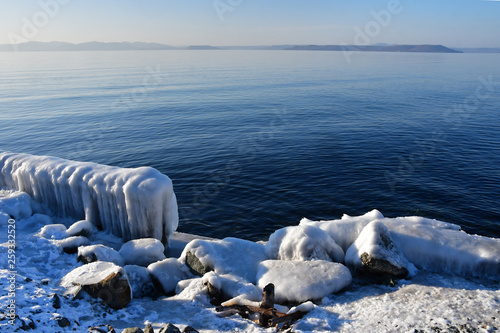Russia,Vladivostok, Amursky day in the area of Sports promenade in wint Canvas Print