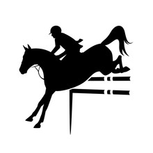 Horse And Rider Jumping During Equestrian Sport Competition - Black Vector Silhouette Design