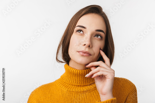 Foto auf Leinwand Akt Attractive young woman standing isolated