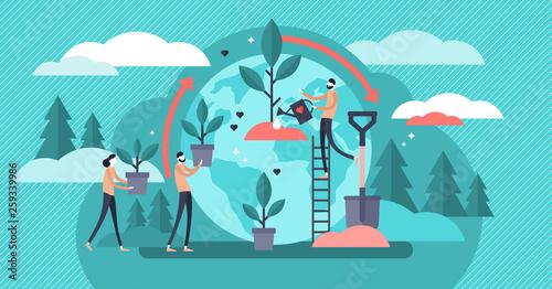 Obraz Reforestation vector illustration. Flat tiny forest planting person concept - fototapety do salonu