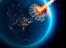 Meteorites That Hit The Earth. Explosion, Cataclysm End Of The World. Global Extinction. Nuclear Bomb. 3d Rendering. Elements Of This Image Are Furnished By NASA