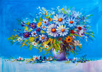 Fototapeta na wymiar Oil painting Daisy flowers