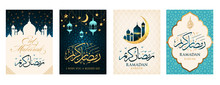 Ramadan Kareem Set Of Posters Or Invitations Design Paper Cut Islamic Lanterns, Stars And Moon On Gold And Violet Background. Vector Illustration. Place For Text.