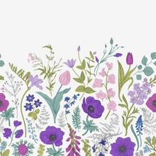 Spring Magic. Seamless Border. Blue And Purple Flowers. Vector Vintage Illustration.
