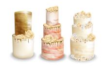 Wedding Cakes Vector Watercolor. Vintage Delicious Cakes Sets