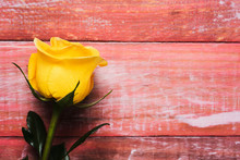 Yellow Rose On A Red Wooden Ba...