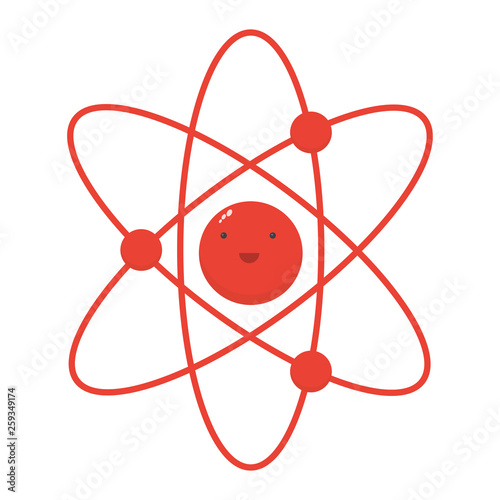 Atom is a little cute character, cute molecule flat icon, physics and chemistry Canvas Print