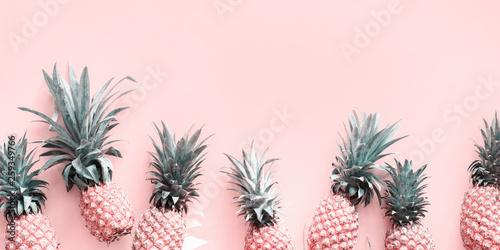 Row Line Pine Apple Whole Tropical Fruits Pink