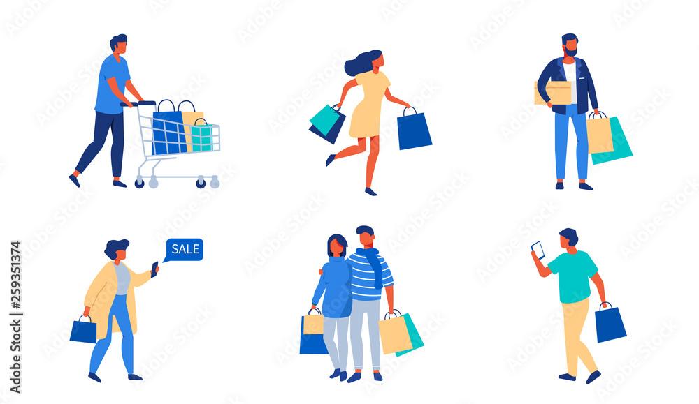 Fototapety, obrazy: shopping people