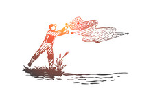 Man, Fishing, Net, River, Nature Concept. Hand Drawn Isolated Vector.