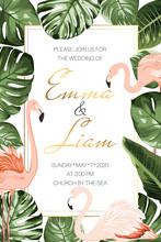 Wedding Marriage Tropical Event Invitation Card Template