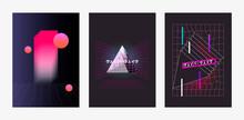 Set Of Posters Vaporwave, Seapunk, Synthpop Style, Neon Aesthetics Of 80s. Tropical Summer Theme. Japanese Translation Vaporwave