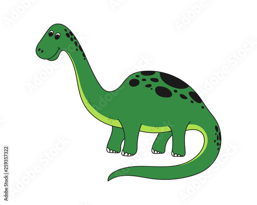 Deurstickers Dinosaurs Vector illustration of cartoon dinosaur. Cute dinosaur on white background.