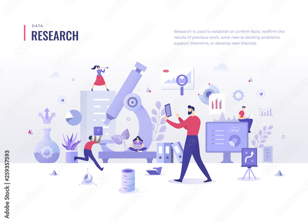 Fototapeta Research Flat Illustration Concept. Search for information, analyze business processes. Scientific approach in problem solving