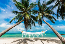Wide-angle Photo Of The Coast Of A Tropical Island, Beach Hammock Between Two Palm Trees, Perfect Summer Vacation, Travel