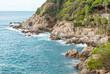 Rocks on the coast of Lloret de Mar in a beautiful summer day, Costa Brava, Catalonia, Spain