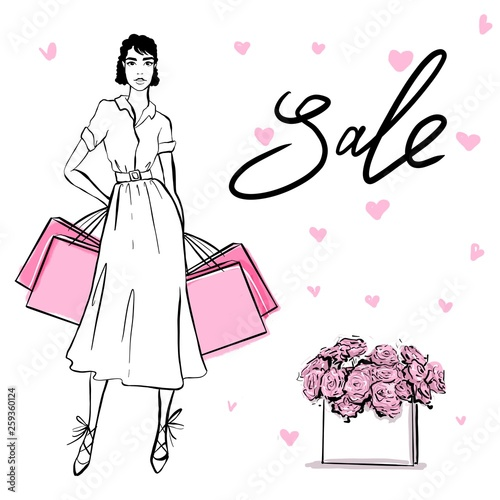 Photographie  Beautiful woman in retro style whith shopping bags
