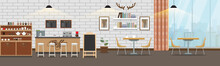 Empty Cafe Interior. Cofee Shop Bar Counter With Flat And Solid Color Style. Vector Illustration