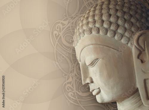 Stampa su Tela Head Smiling Buddha