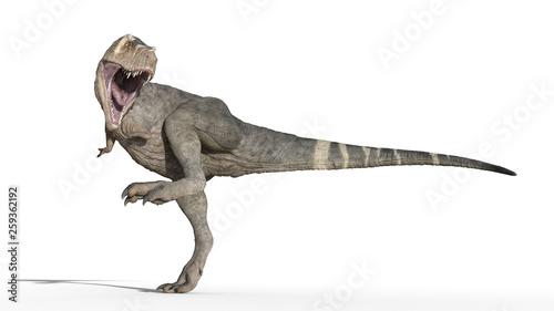 Obraz na plátně T-Rex Dinosaur, Tyrannosaurus Rex reptile stomping, prehistoric Jurassic animal