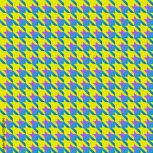 Photo  yellow and blue houndstooth seamless pattern black and white
