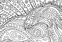 Black And White Art For Coloring Book With Hawk