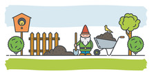 Gardening Concept Vector Banner. Garden Gnome At Work In His Garden With Shovel And Wheelbarrow.