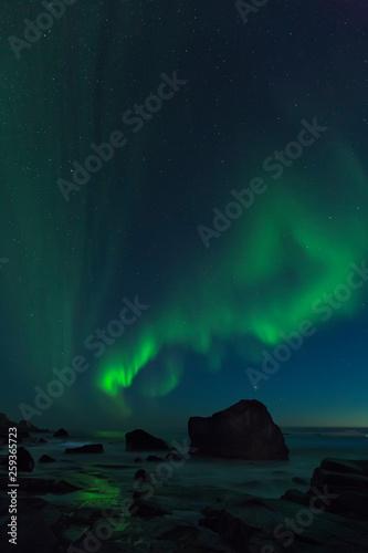 Valokuva  Aurora Borealis, northern lights at Utakleiv beach in summer night, Lofoten isla